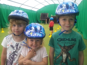 The kids all ready for their bike riding lesson